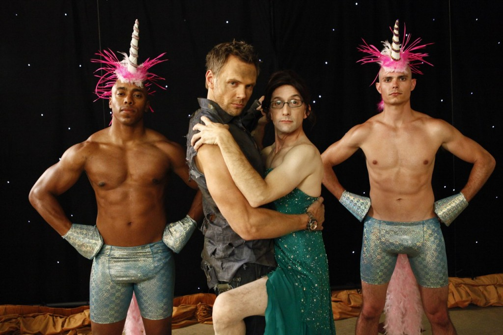 "COMMUNITY -- ""History 101"" Episode 401 -- Pictured: (l-r) Joel McHale as Jeff Winger, Jim Rash as Dean Pelton -- (Photo by: Vivian Zink/NBC)"