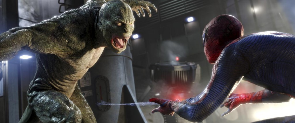 """Rhys Ifans as Dr. Connors/The Lizard, left, and Andrew Garfield as Spider-Man in Columbia Pictures' """"The Amazing Spider-man,"""" also starring Emma Stone."""